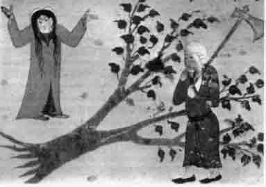 ›Im Auftrag Mohammeds schlägt Khalid die Al Uzza geweihte Akazie um, bevor er die Göttin selbst tötet. Türkische Buchmalerei.‹