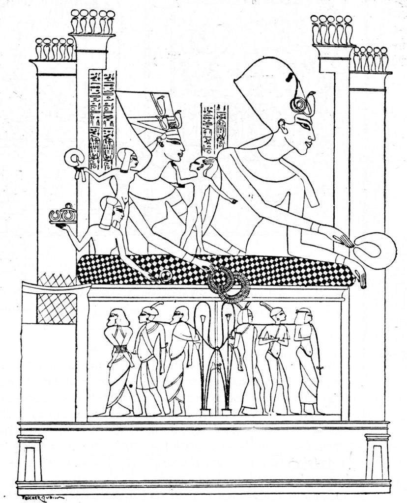 Echnaton mit Familie und Gefangene