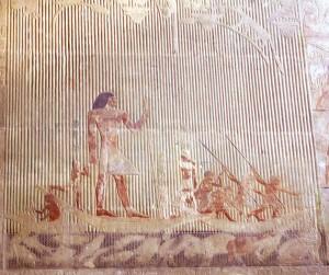 Wirklichkeitesfremde Nilpferdjagd im Grab des Ti in Sakkara