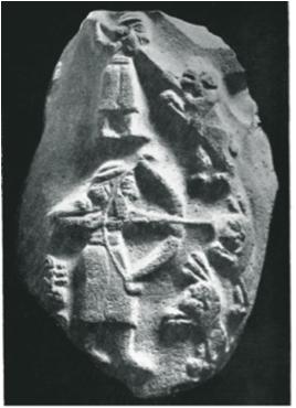 Sumerer mit Pfeil und Bogen auf der Löwenjagd